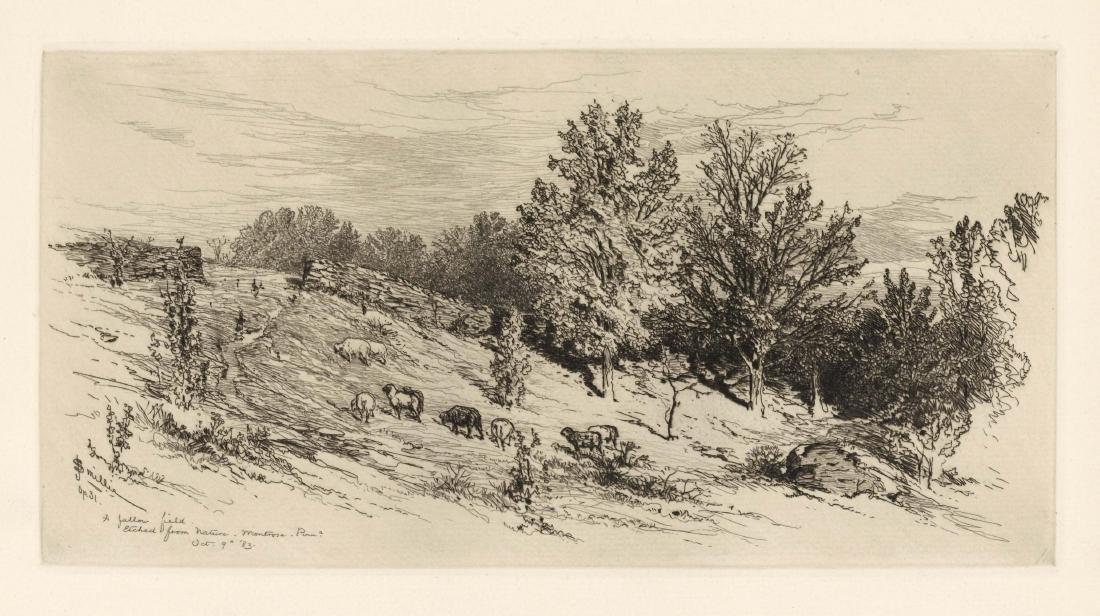 """James D. Smillie original etching """"A Fallow Field"""""""