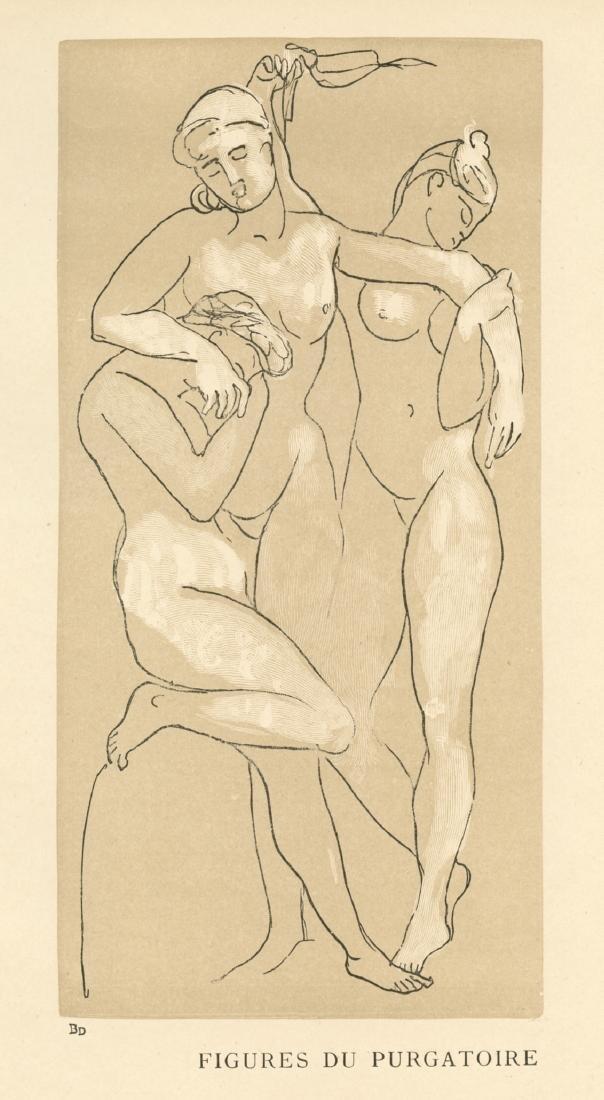 """Auguste Rodin engraving """"Figures du Purgatoire"""""""