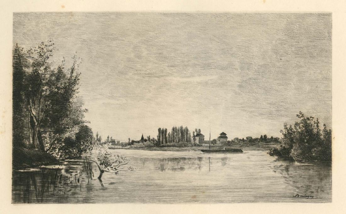 "Charles Daubigny etching ""Bords de l'Oise"""