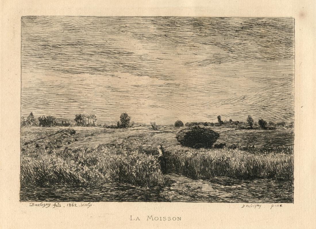 """Charles Daubigny etching """"La Moisson"""""""