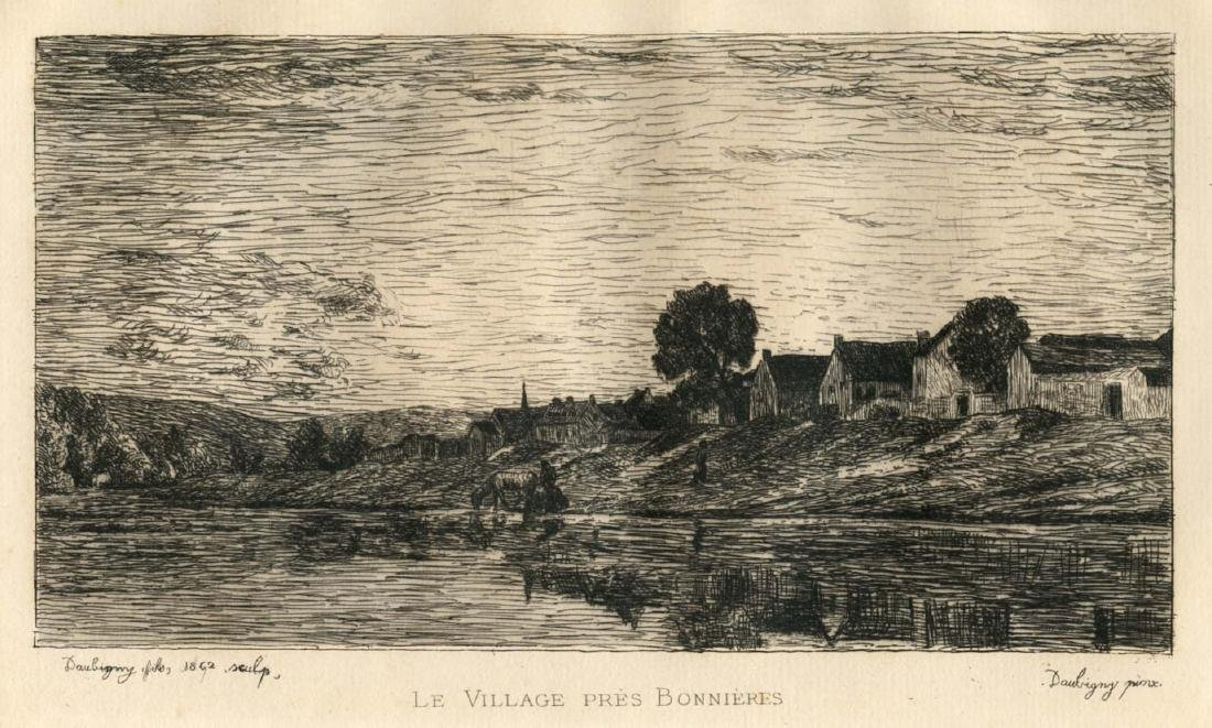 "Charles Daubigny etching ""Le Village pres Bonnieres"""