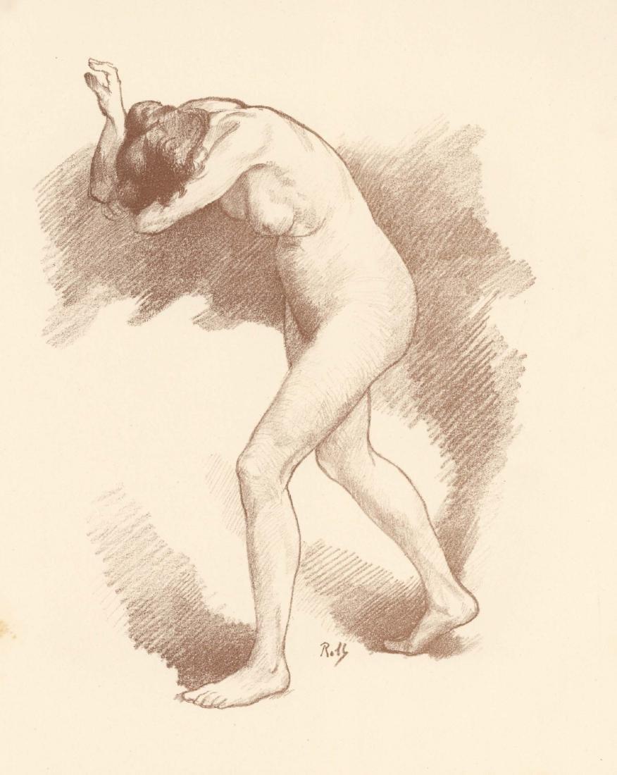 """Alfred Philippe Roll original lithograph """"Etude de"""