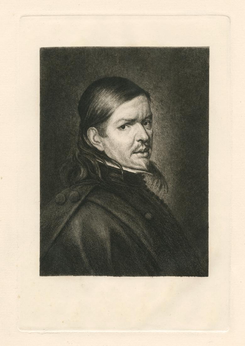 "Paul Rajon original etching ""Portrait Of Murillo"""