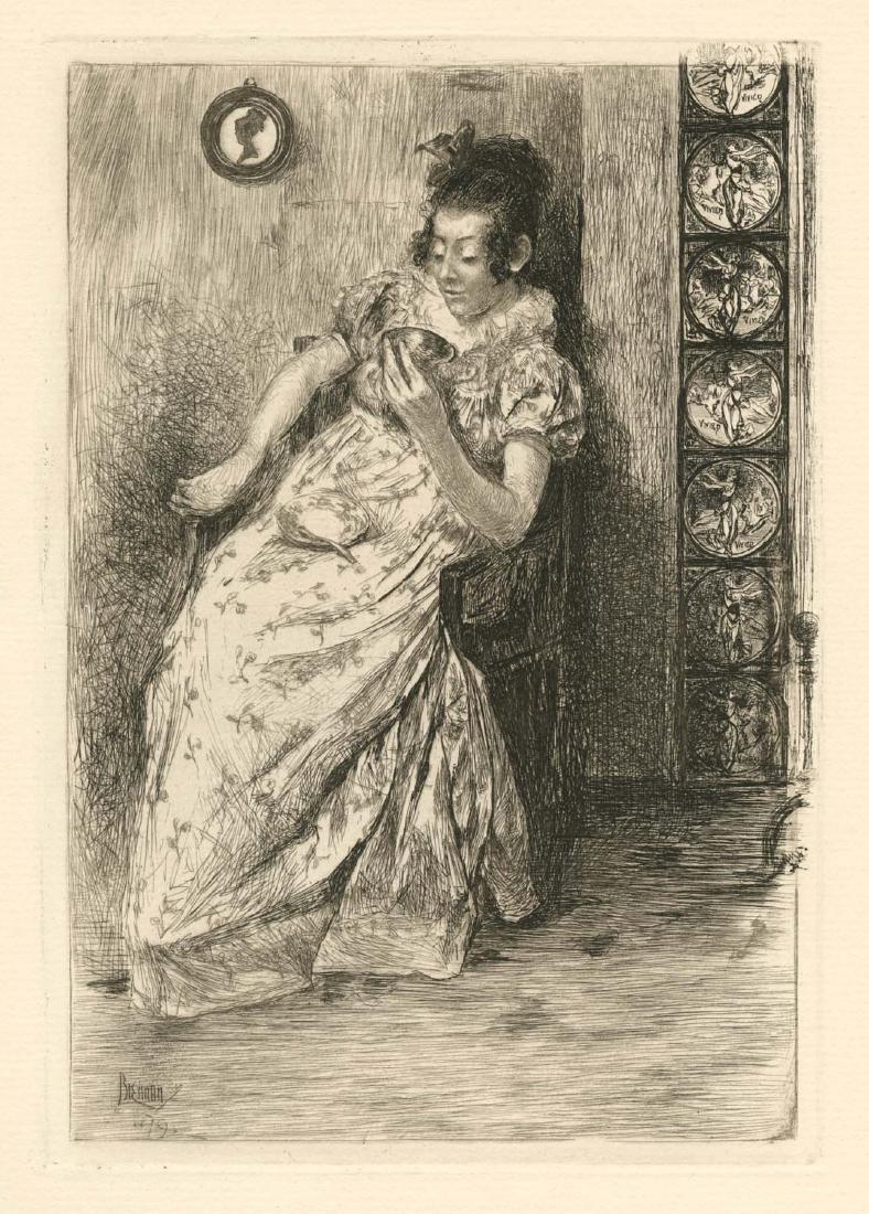 "Alfred Laurens Brennan original etching ""Divination in"