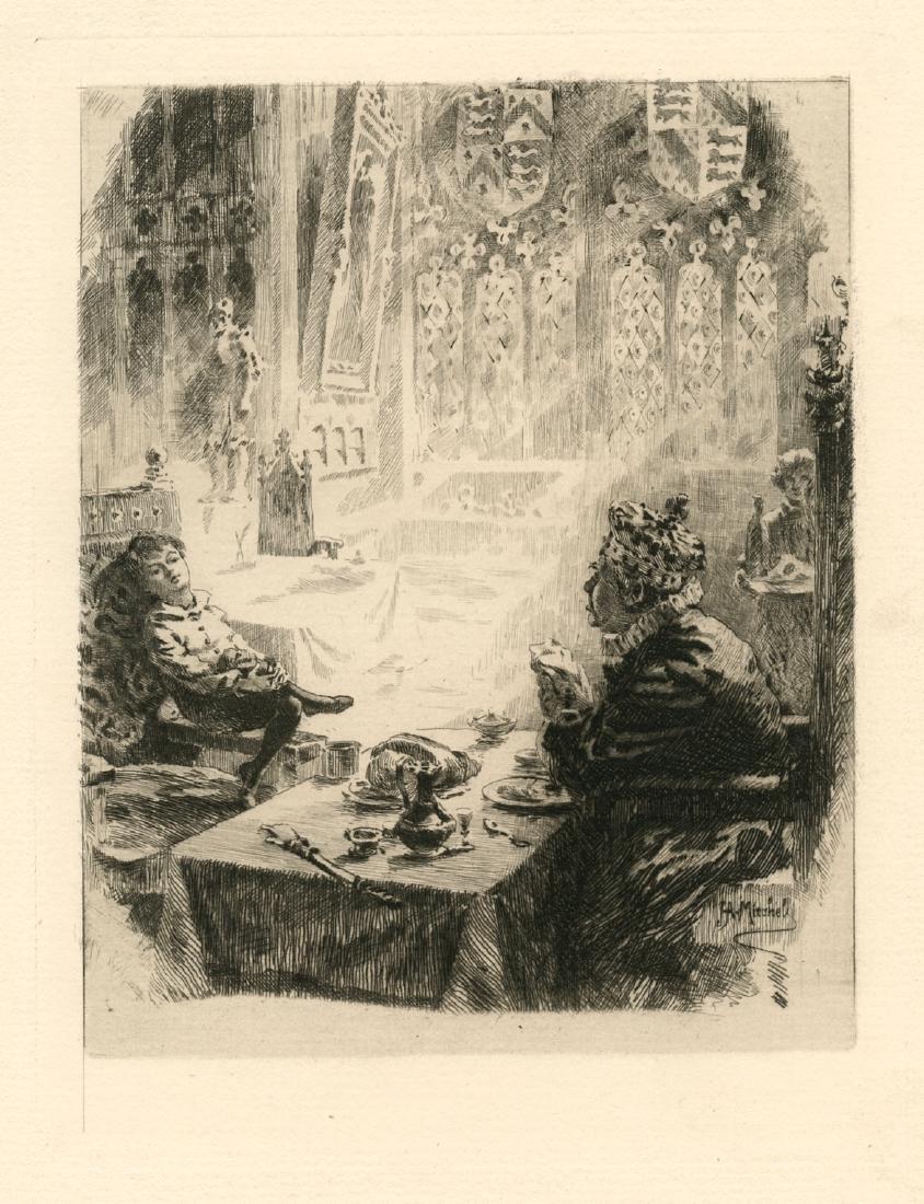 "John Ames Mitchell original etching ""A Young"