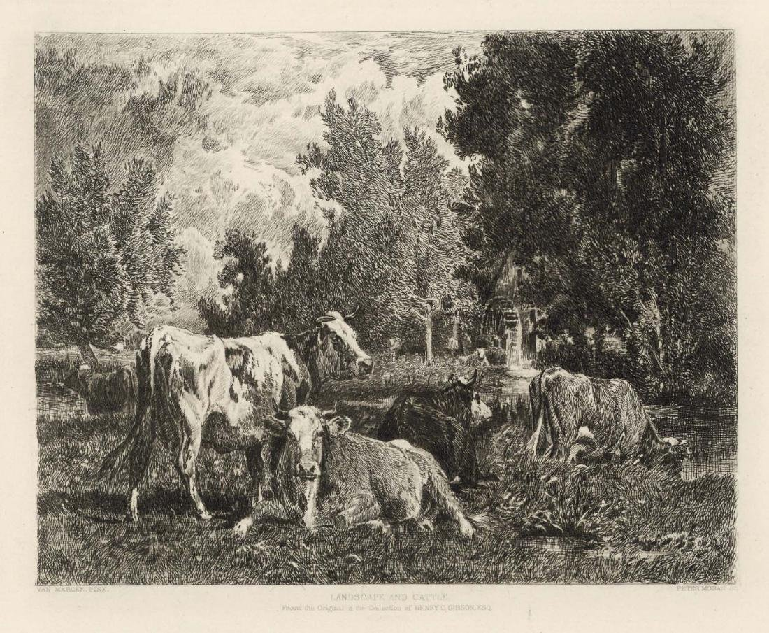 """Peter Moran etching """"Landscape and Cattle"""""""