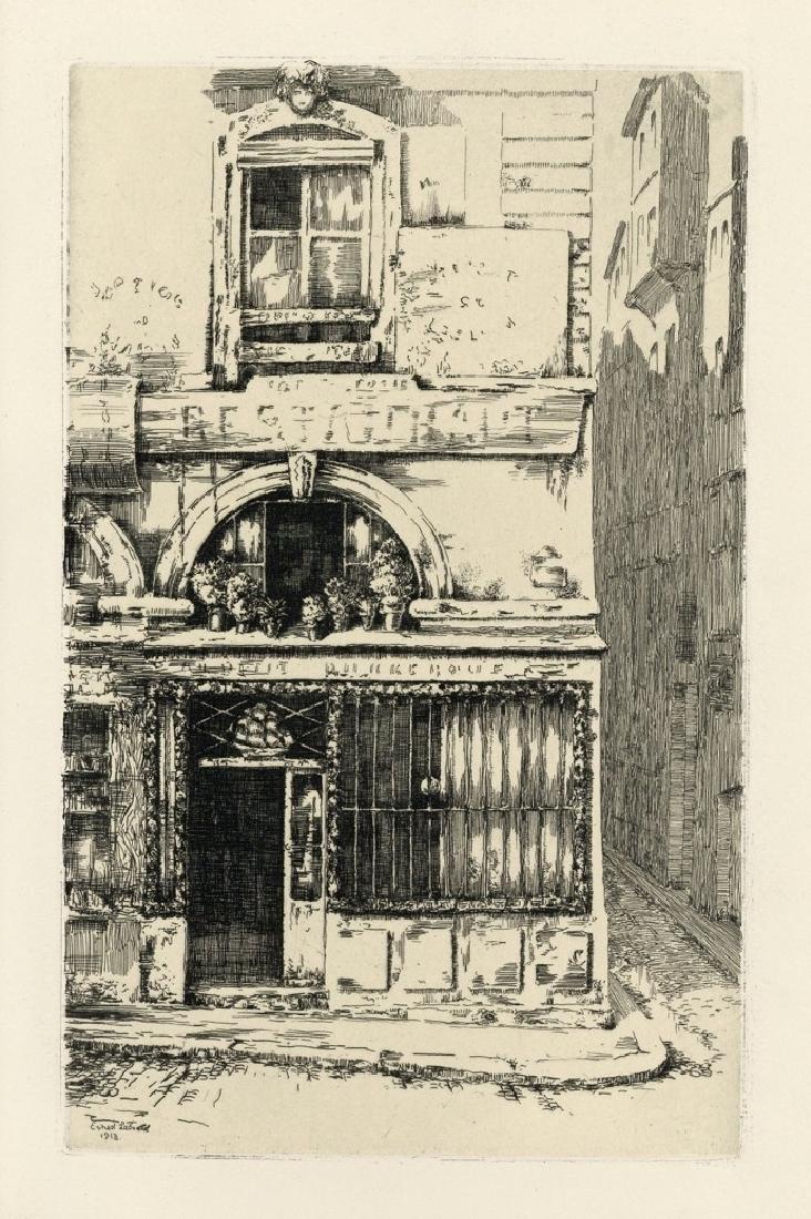 """Ernest Laborde original etching """"Au Petit Dunkerque"""""""
