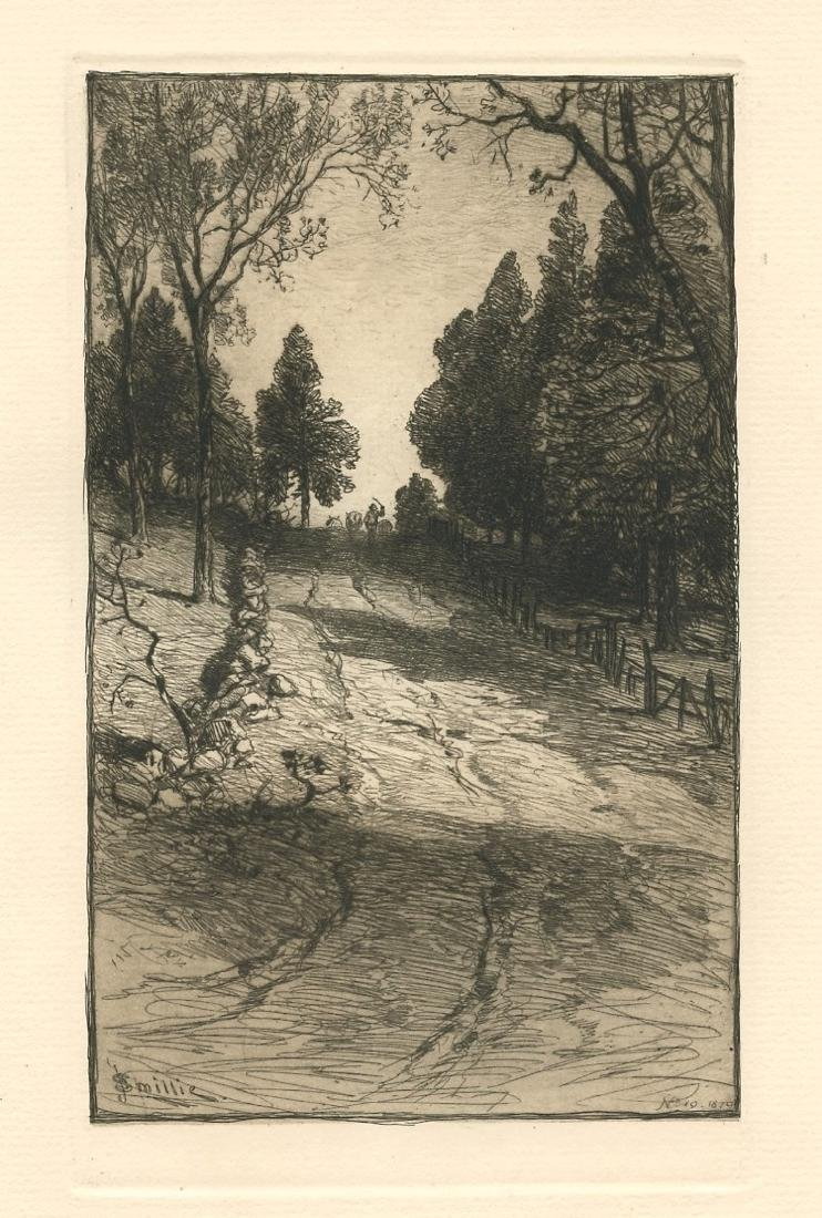 "James D. Smillie original etching ""Up the Hill"""
