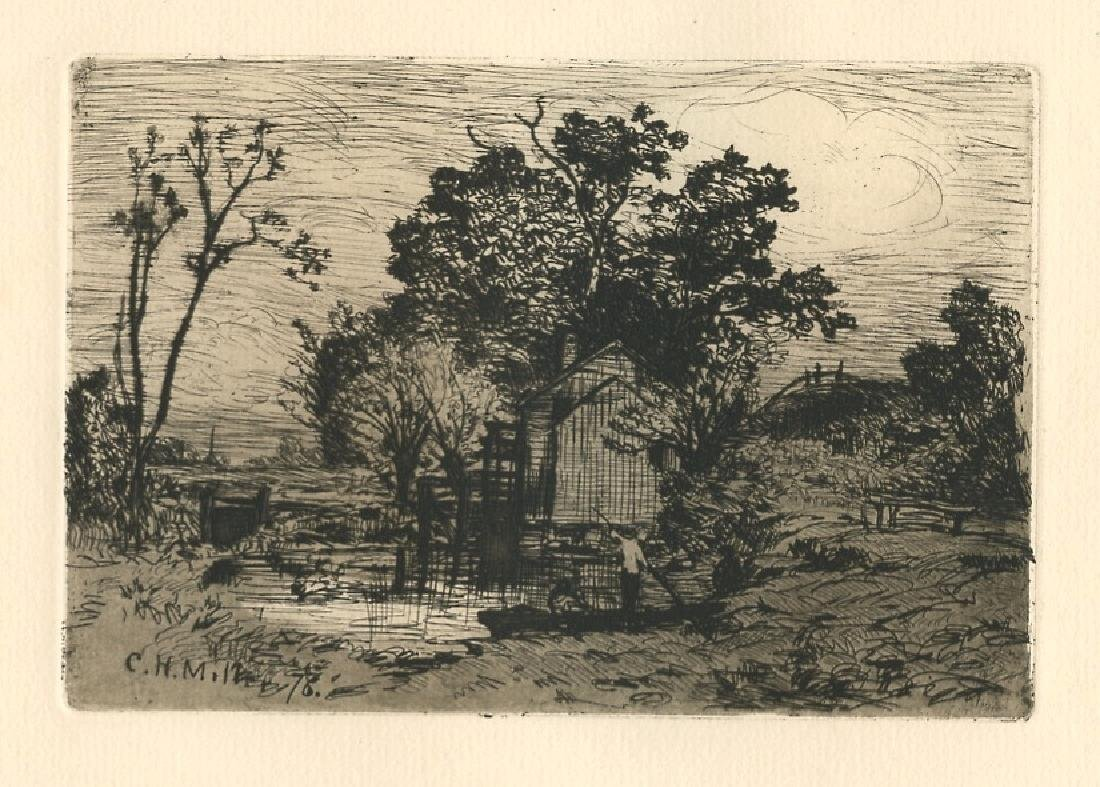 """Charles Henry Miller original etching """"Old Mill at"""