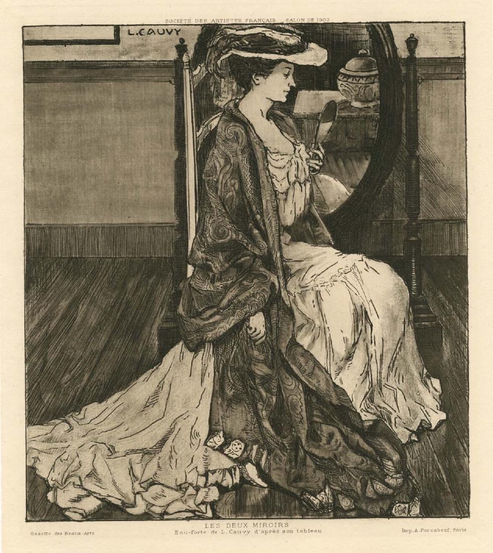 """Leon Cauvy original etching """"Les deux miroirs"""""""