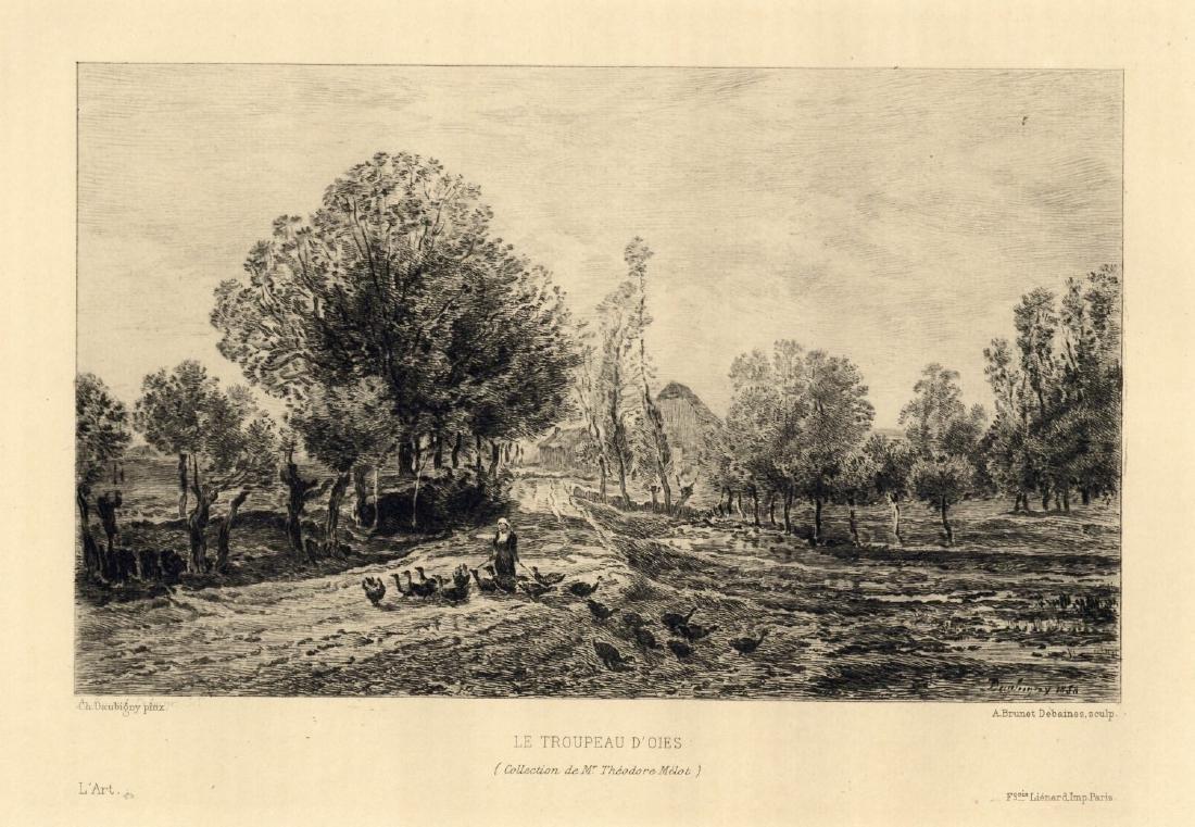 "Charles Daubigny ""Le Troupeau d'Oies"" etching"