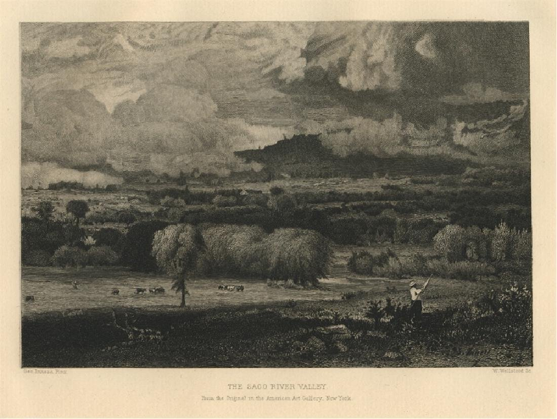 """George Inness etching """"The Saco River Valley"""""""