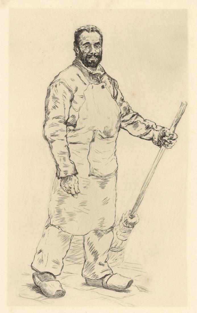 """Paul Renouard original etching """"Prisonnier auxiliare"""""""
