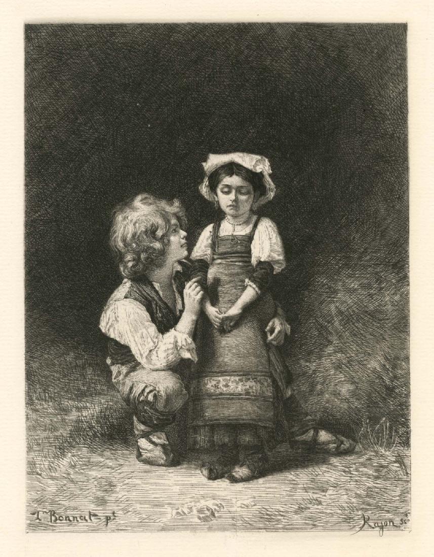 "Leon Bonnat etching ""Brother and Sister"" Paul Rajon"