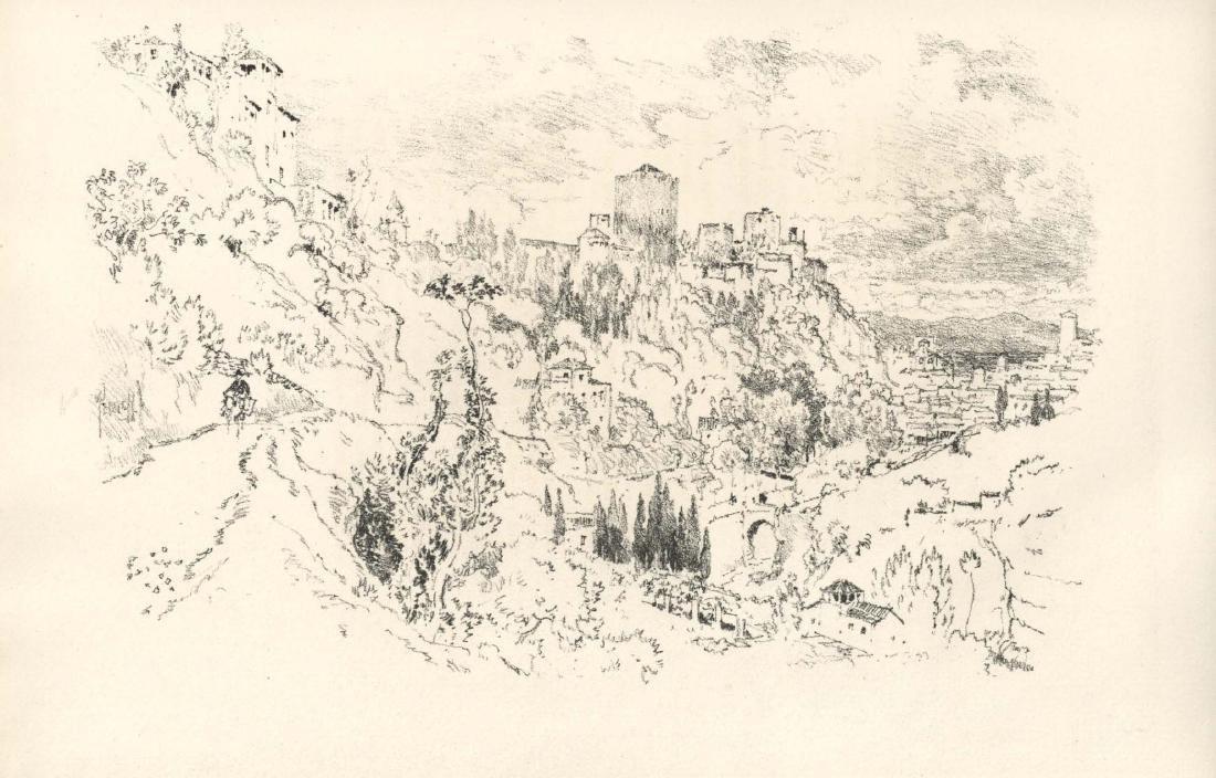 "Joseph Pennell original lithograph ""Alhambra"" 1896"