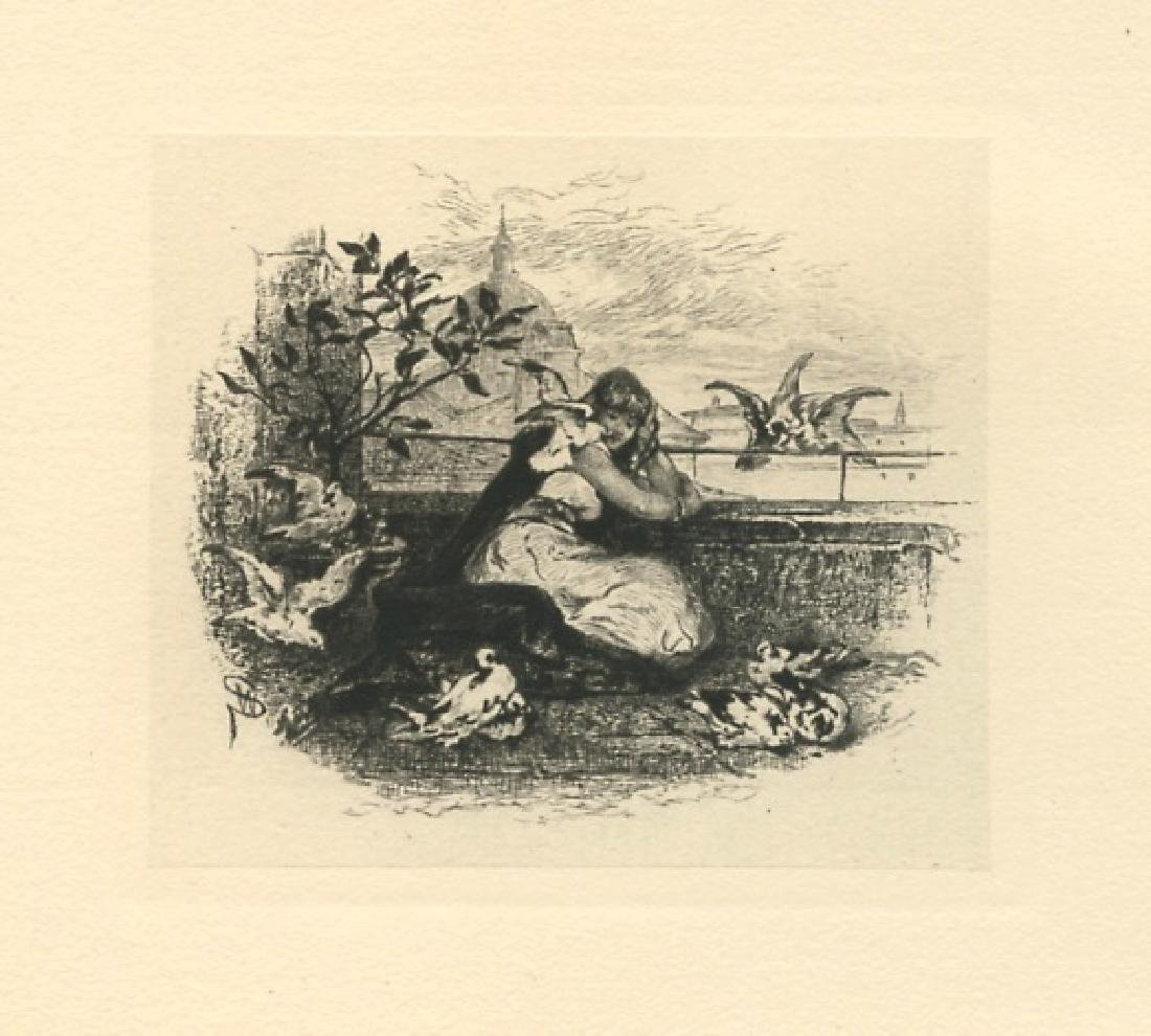 "Walter Shirlaw original etching ""Hilda and the Doves"""