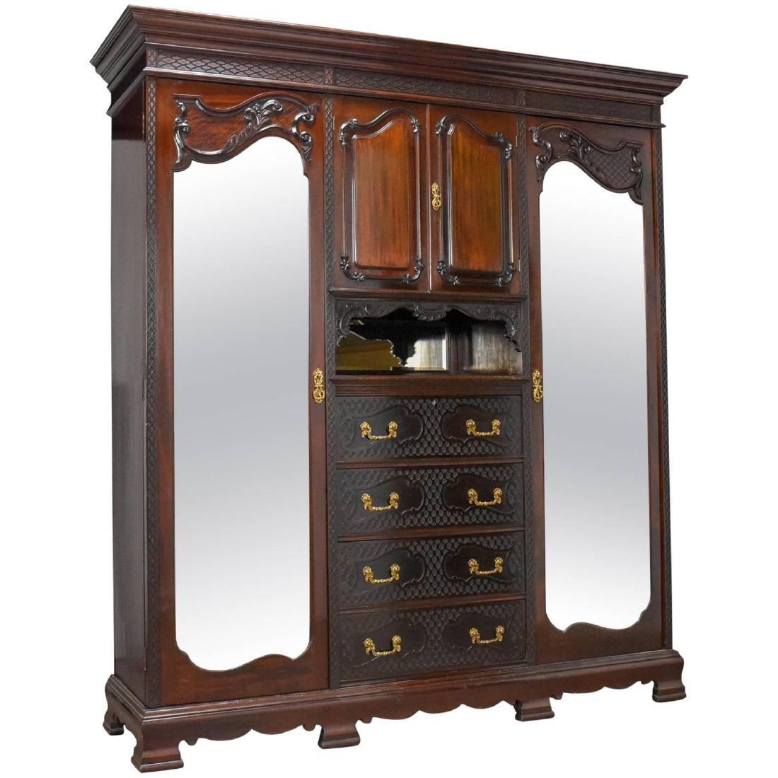 Antique Wardrobe, Carved Mahogany, English, Compactum,