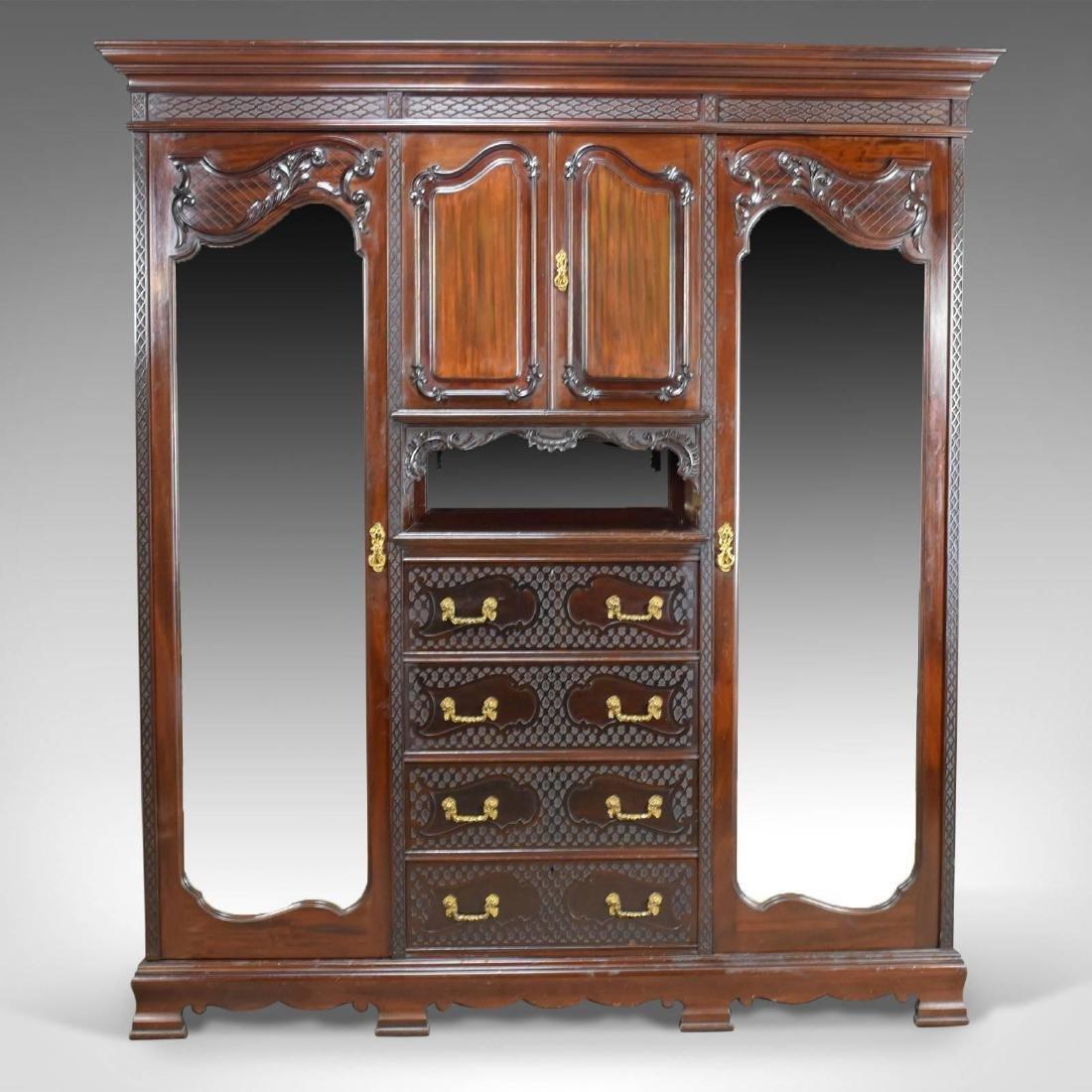 Antique Wardrobe, Carved Mahogany, English, Compactum, - 2