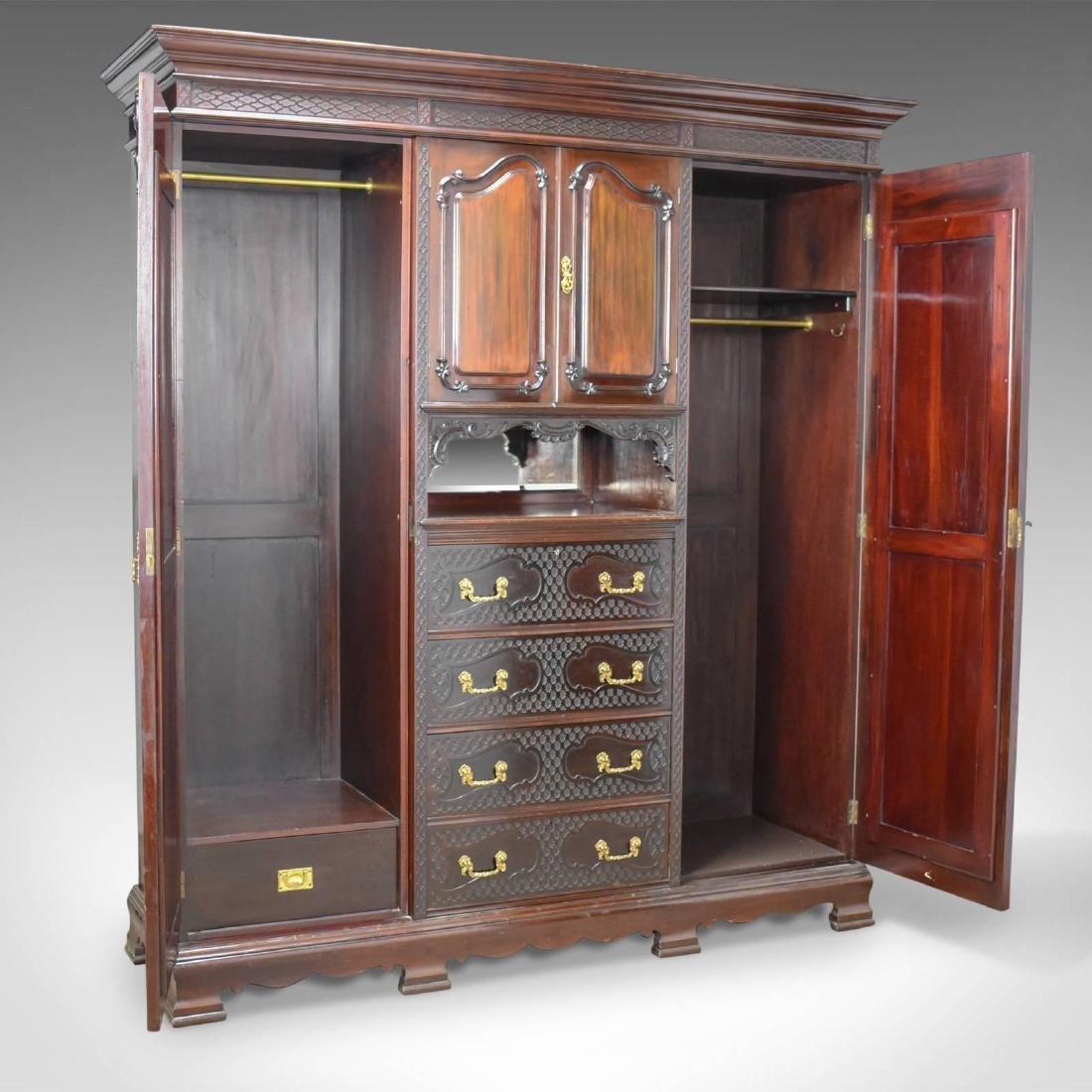 Antique Wardrobe, Carved Mahogany, English, Compactum, - 3