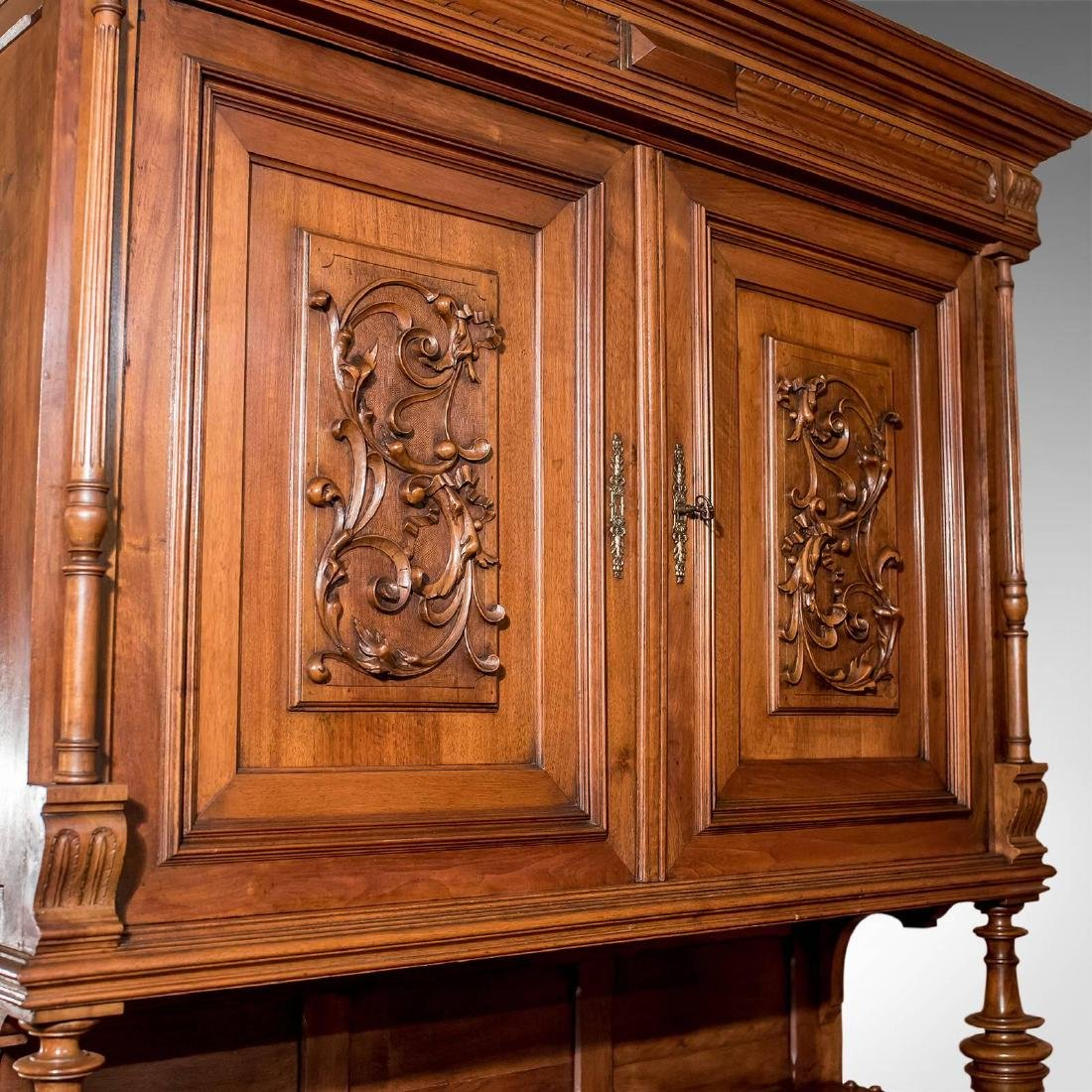 French Antique Show Cabinet, Victorian Cupboard, circa - 4
