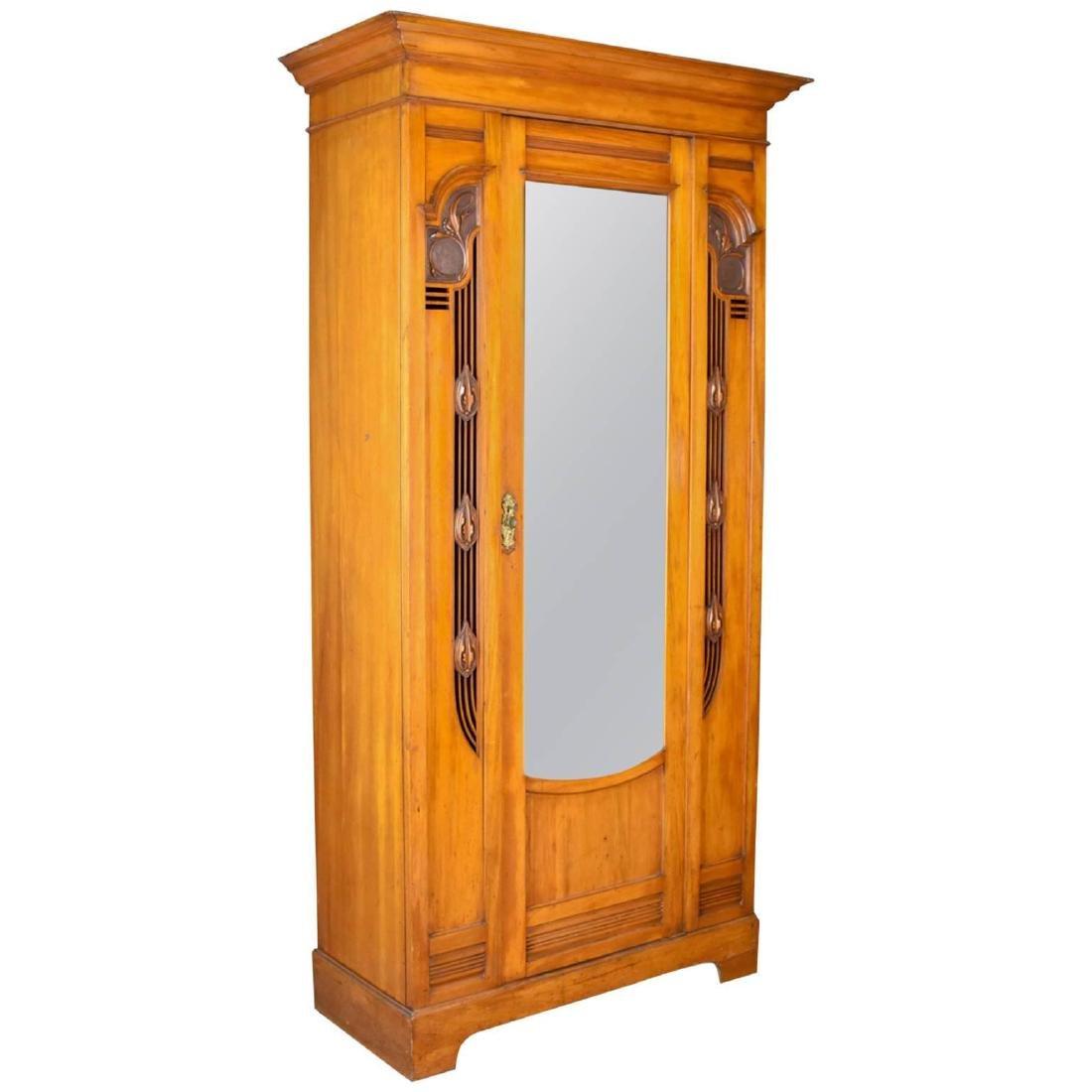 Antique Single Wardrobe, Satinwood, English, Compactum,