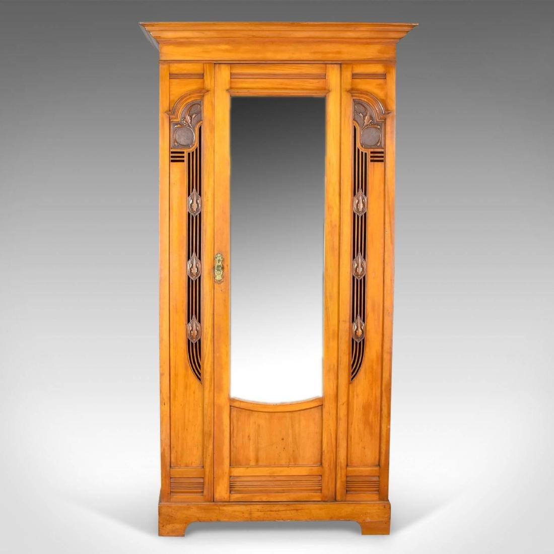 Antique Single Wardrobe, Satinwood, English, Compactum, - 2