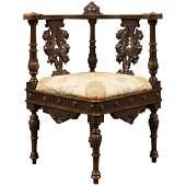 Antique Corner Armchair, Carved Victorian Chair, circa