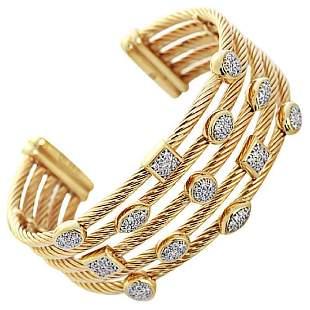 David Yurman Diamond Gold Confetti Wide Cuff...
