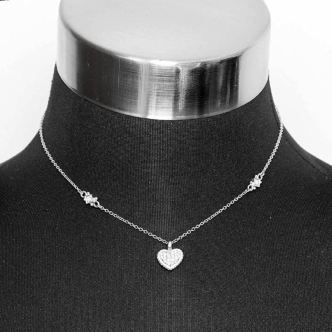 Judith Ripka Pave Diamond Heart Pendant Nec...