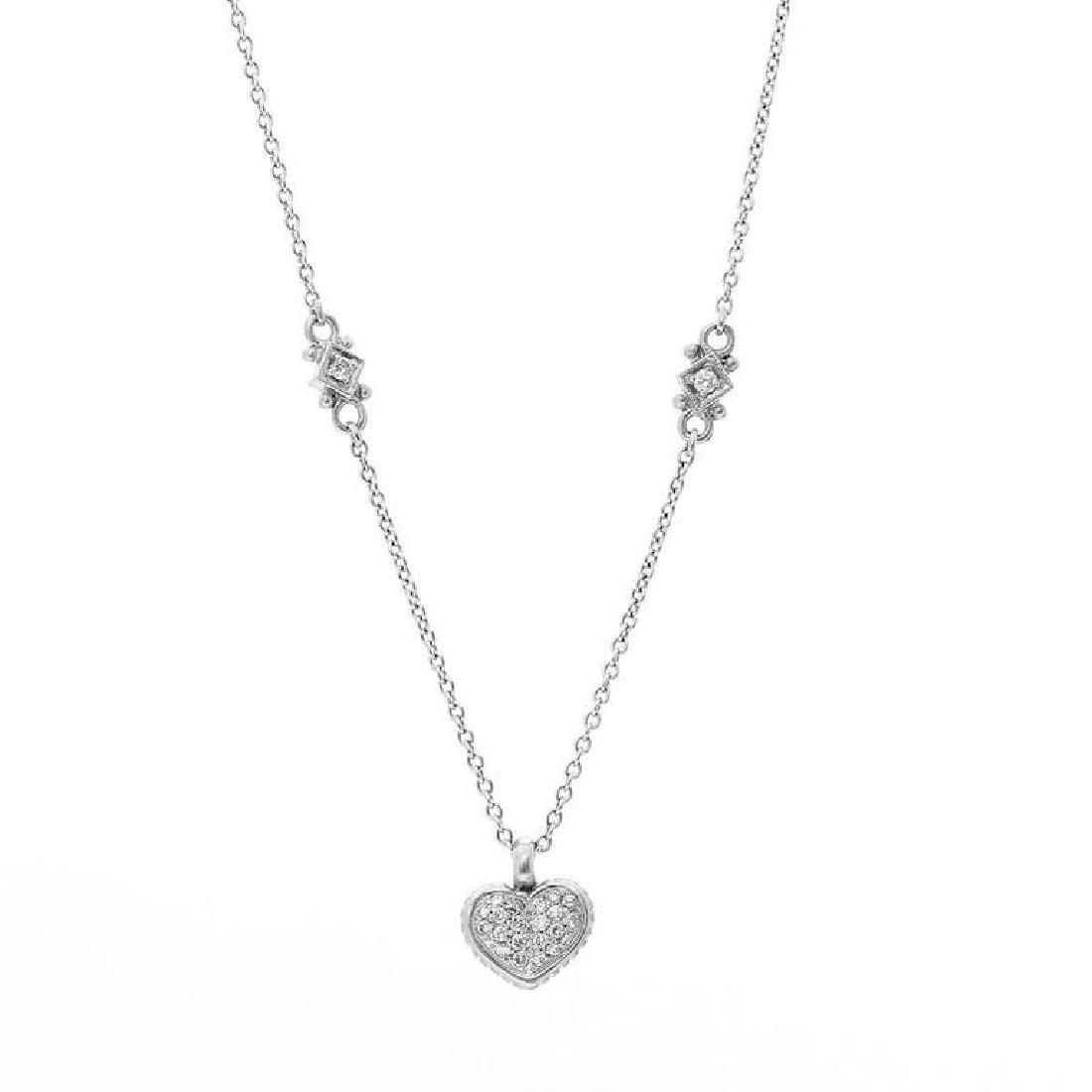 Judith Ripka Pave Diamond Heart Pendant Nec... - 2