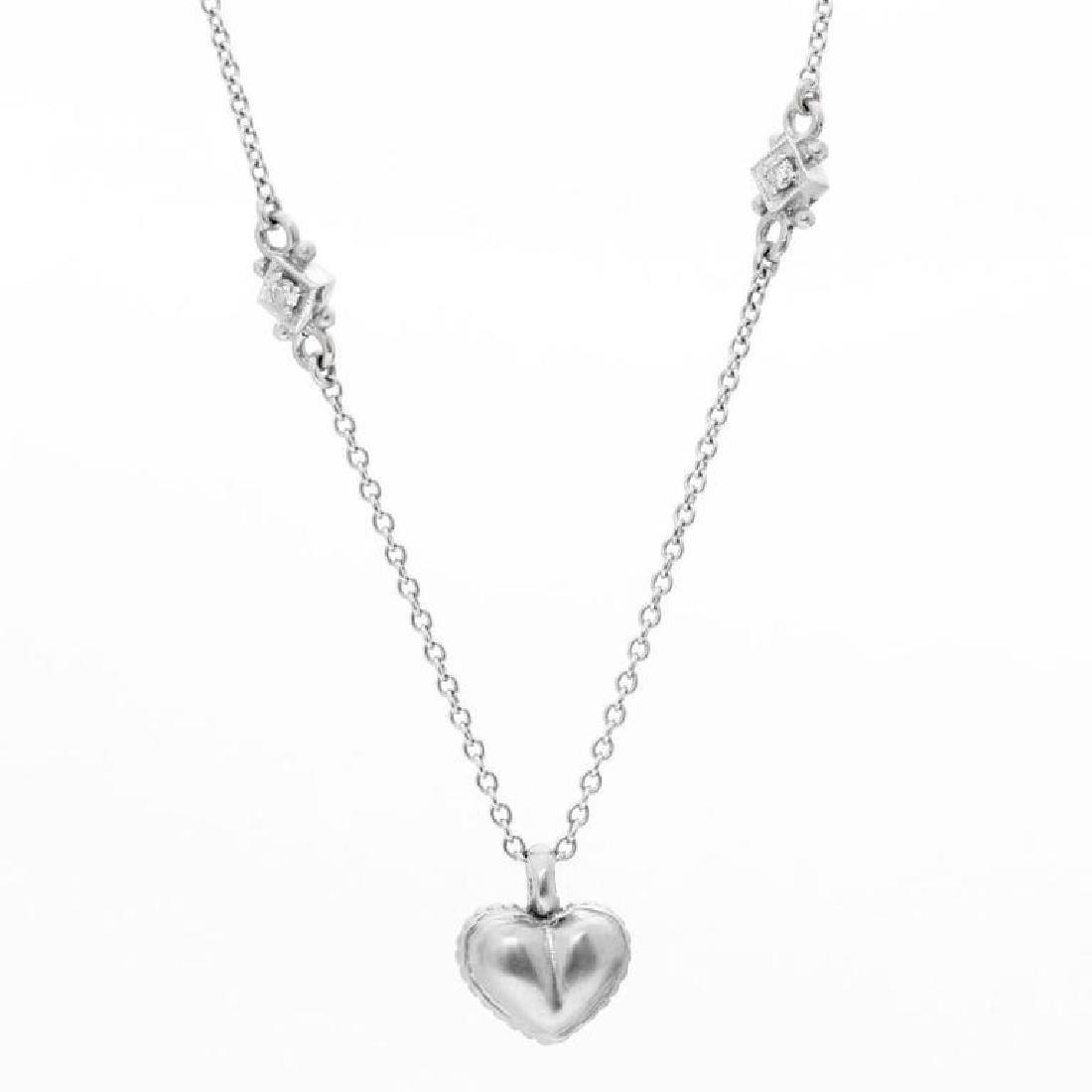 Judith Ripka Pave Diamond Heart Pendant Nec... - 3