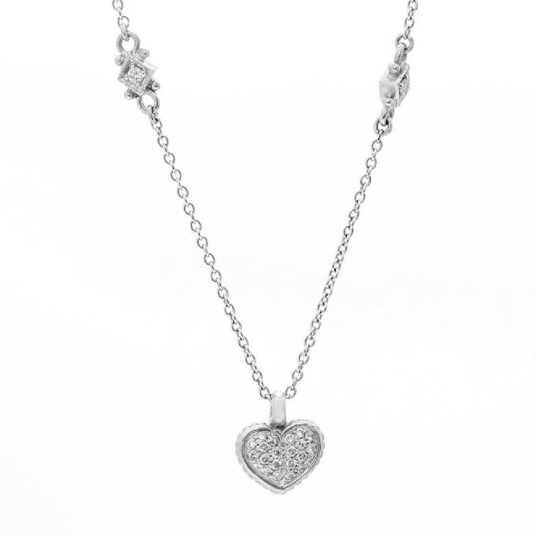 Judith Ripka Pave Diamond Heart Pendant Nec... - 4