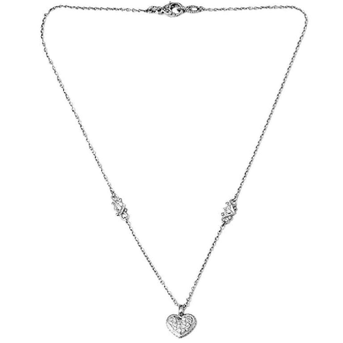 Judith Ripka Pave Diamond Heart Pendant Nec... - 5