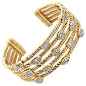David Yurman diamond gold Confetti Wide Cuff Bracelet