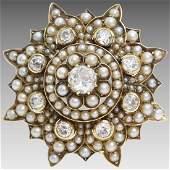 Victorian Diamond Brooch Pendant | 9K Gold Pearl |