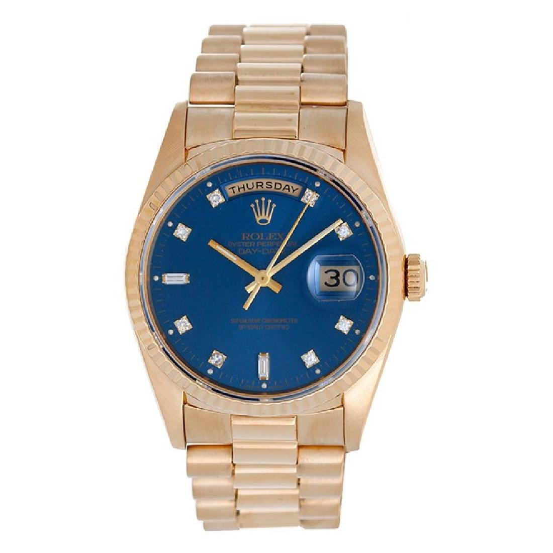 Rolex Yellow Gold President Day-Date Custom Blue Dial