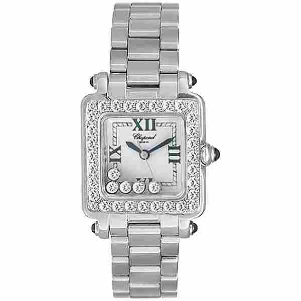 Chopard Ladies White Gold Floating Diamonds Happy Sport