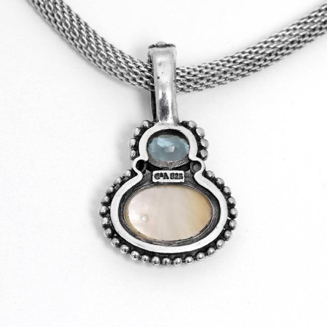 Moonstone and Aquamarine Sterling Silver Necklace - 4
