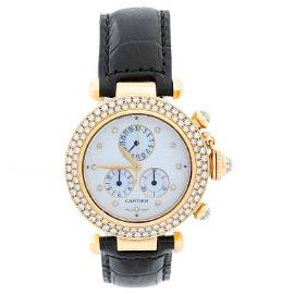 Cartier Pasha 18 Karat Yellow Gold and Diamond Ladies