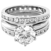 Round Brilliant Cut Solitaire and Diamond Bands