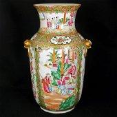 Chinese Rose Mandarin Palace Vase Lion Handles Circa