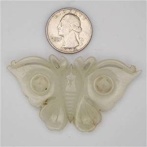 Chinese Late Qing/Republic Nephrite Jade Butterfly Pale