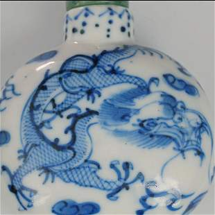 Chinese Blue and White Porcelain Dragon Snuff Bottle