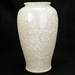 Large Late Qing/Republic Chinese Crackle Ware Vase