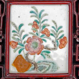 Chinese Painted Porcelain and Rosewood Table Screen