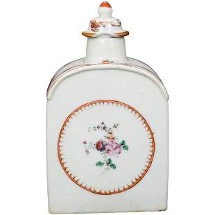 Chinese Export Famille Rose Porcelain Tea Caddy