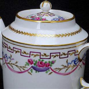 Antique Continental Porcelain Teapot Early 19th Century
