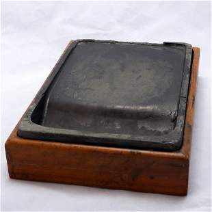 Chinese Antique Ink Stone in Fitted Wood Box Circa 1900