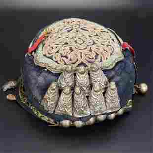Antique Chinese Miao Child's Hat Early 20th C