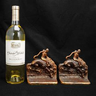 Bucking Bronco Rider Bookends Metal with Copper Patina